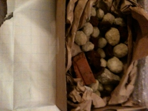 No really, it's a box of rocks.