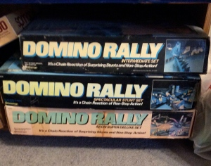 A few years ago, my son was obsessed with domino toppling. We found these fun sets at a thrift store for 50 cents each.