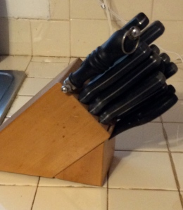 $10 kitchen knife set, including a sharpener.