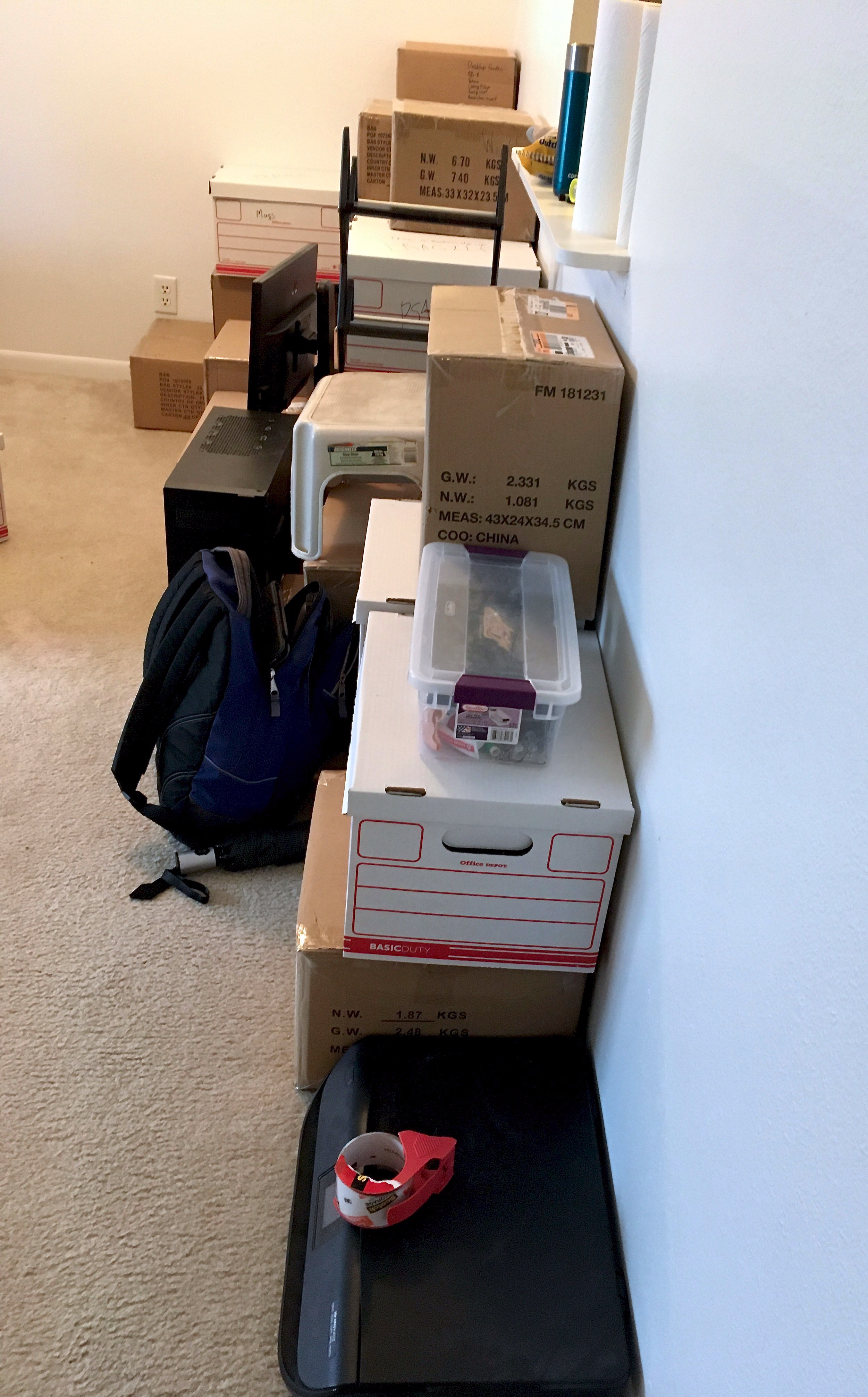 Packed moving boxes.